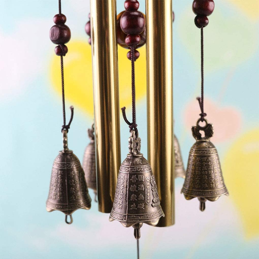 Rekkles Carill/ón de Viento del Dormitorio del hogar Ventana de la Sala carrill/ón de 4 Campana de Viento con 4 Tubos 5 Campanas de la decoraci/ón del hogar