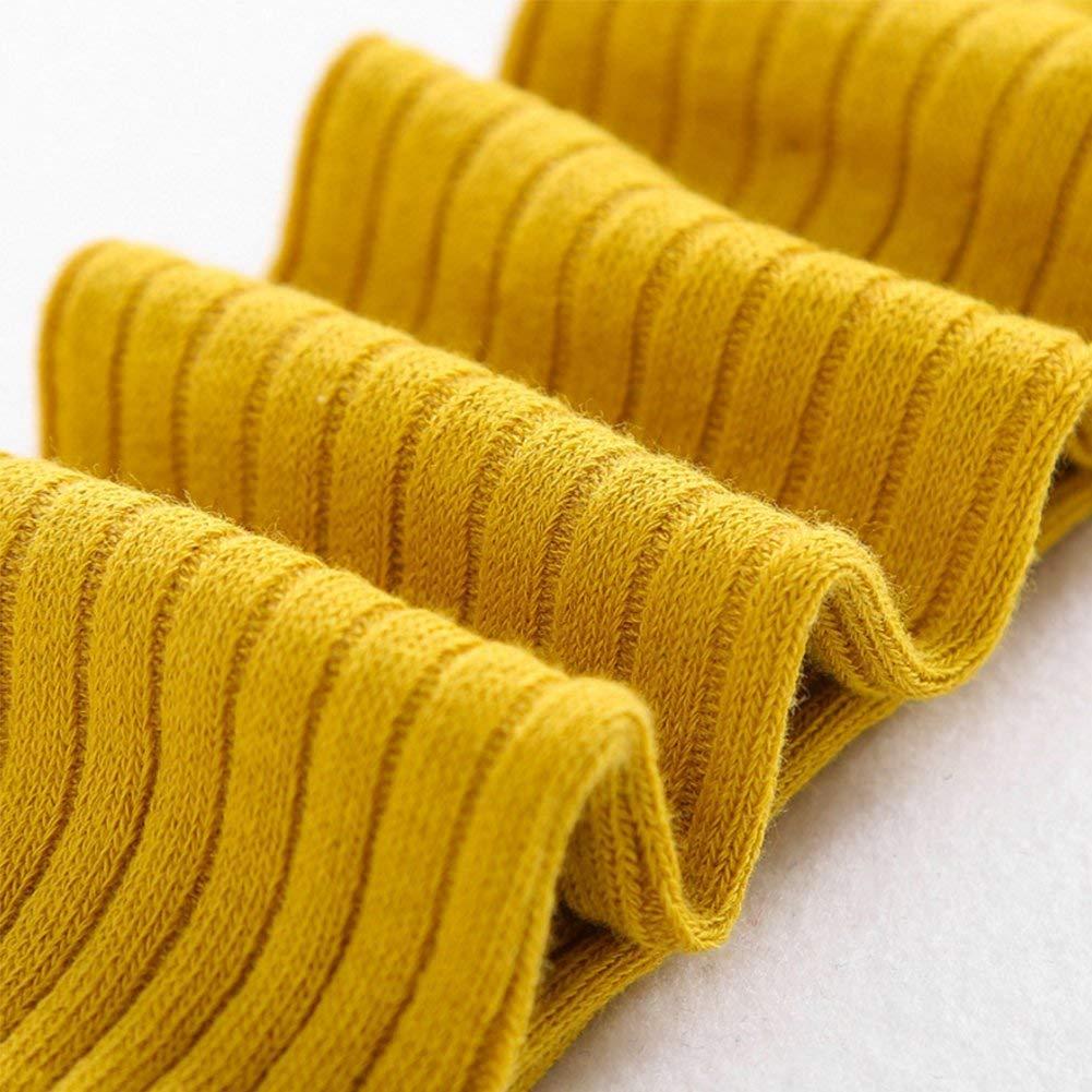 Cilucu 3 Pack Girls Leggings Knit Pants Toddler Tights Kids Warm Stockings Plum Grey Mustard 5-8 Year Old