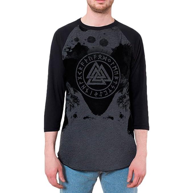 Vikingo Odin Cuervos Huginn y Muninn Mens Raglan T Camisa Brezo Negro X-LG