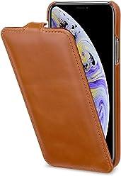 StilGut UltraSlim Case, Custodia Flip Case Custodia Verticale in Vera Pelle Pregiata per iPhone XS, Cognac