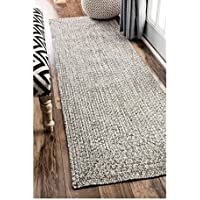 Runnner Rug Handmade Casual Solid Braided Light Grey (26 x 8)