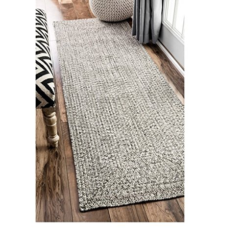 Runnner Rug Handmade Casual Solid Braided Light Grey (2'6 x 8') by nuLOOM