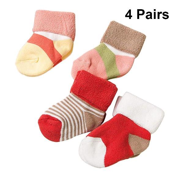 TENDYCOCO 4 pares de bebés niñas calcetines de algodón de invierno niños suaves calcetines térmicos cálidos calcetines sin costura gruesos tamaño XS: ...