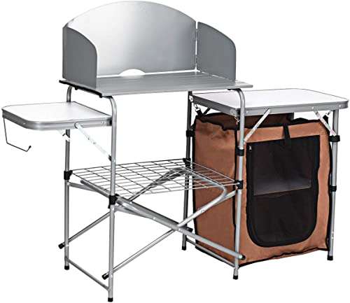 Giantex Folding Grill Table with Storage Lower Shelf and Windscreen