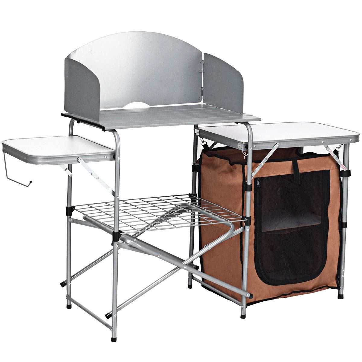 Giantex Folding Grill Table with Storage Lower Shelf and Windscreen Aluminum Folding Cook Station Quick Set-up and Lightweight for BBQ, Party, Camping, Picnics, Backyards and Tailgating, BBQ Table by Giantex