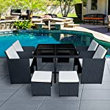 Britoniture Rattan Garden Furniture Set 8 Seater Dining Table and Padded Chairs Stool Outdoor Patio and Conservatory Black