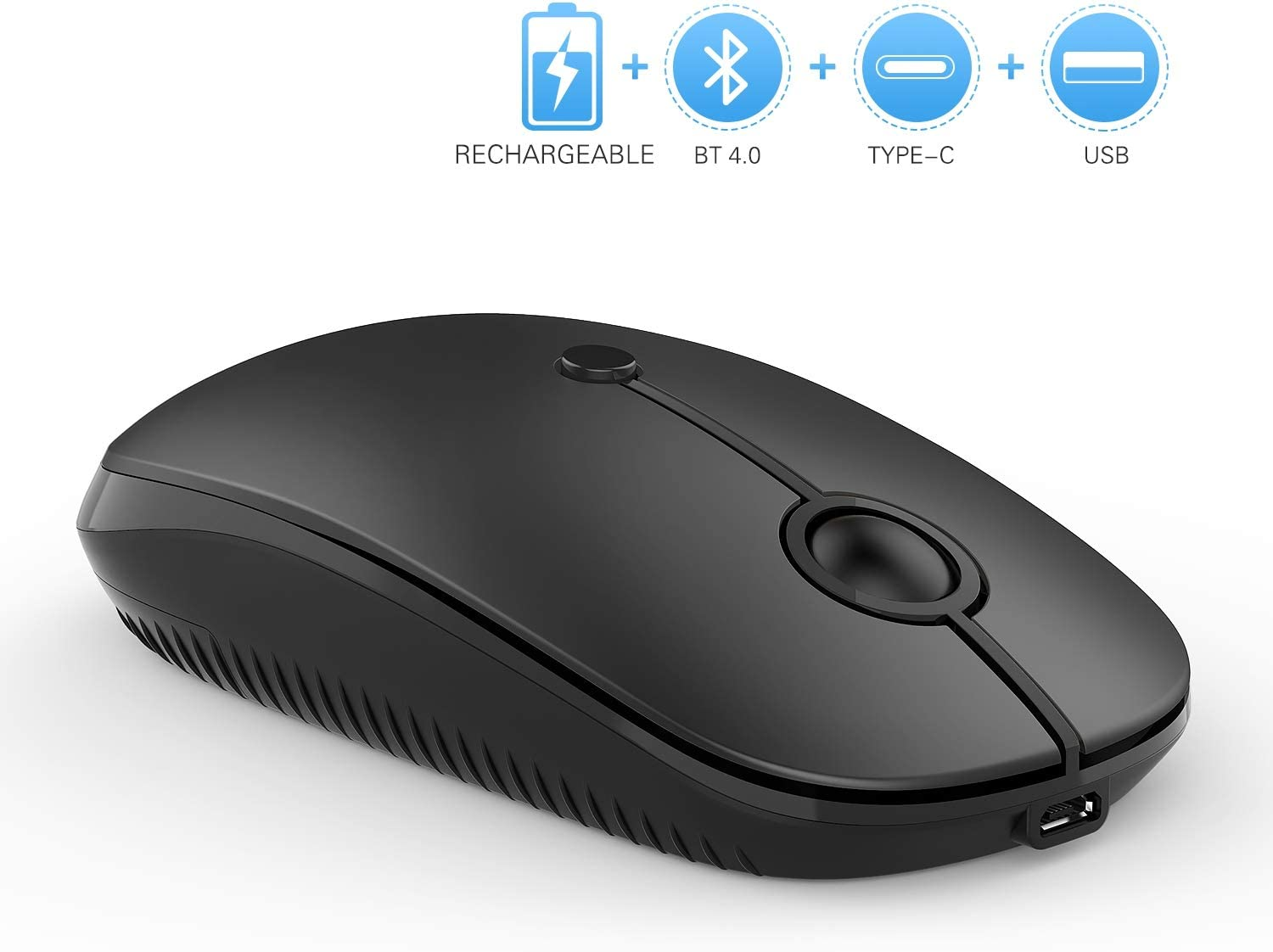 Vssoplor Rechargeable Wireless Bluetooth Mouse Compatible with MacBook, Laptop, Windows Android Mac OS Quiet Clicking Mouse with Bluetooth, Type C and Nano USB Receiver-Black