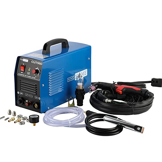 VIVOHOME DC Inverter Non-Touch Pilot Arc Plasma Cutter Cutting Machine Dual Voltage 110V/220V CUT50D Blue - - Amazon.com