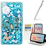 Yaheeda Galaxy Note 9 Case with Stylus, [Stand Feature] Butterfly Wallet Premium [Glitter Luxury] Leather Flip Cover [Card Slots] for Samsung Galaxy Note 9