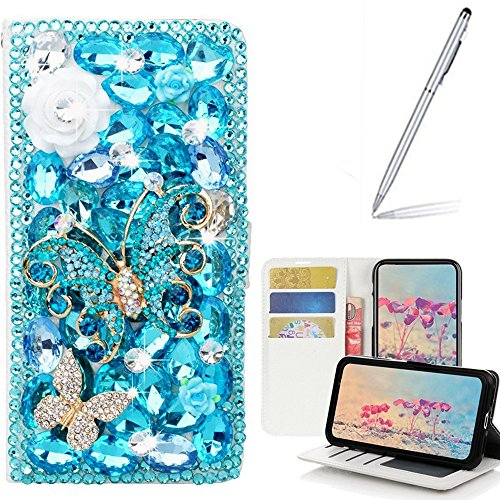 Yaheeda Galaxy J3 2018 Case with Stylus, [Stand Feature] Butterfly Wallet Premium [Glitter Luxury] Leather Flip Cover [Card Slots] for J3 Eclipse 2/J3 Orbit/J3 Achieve/J3 Express Prime 3/J3 Prime 2 by Yaheeda
