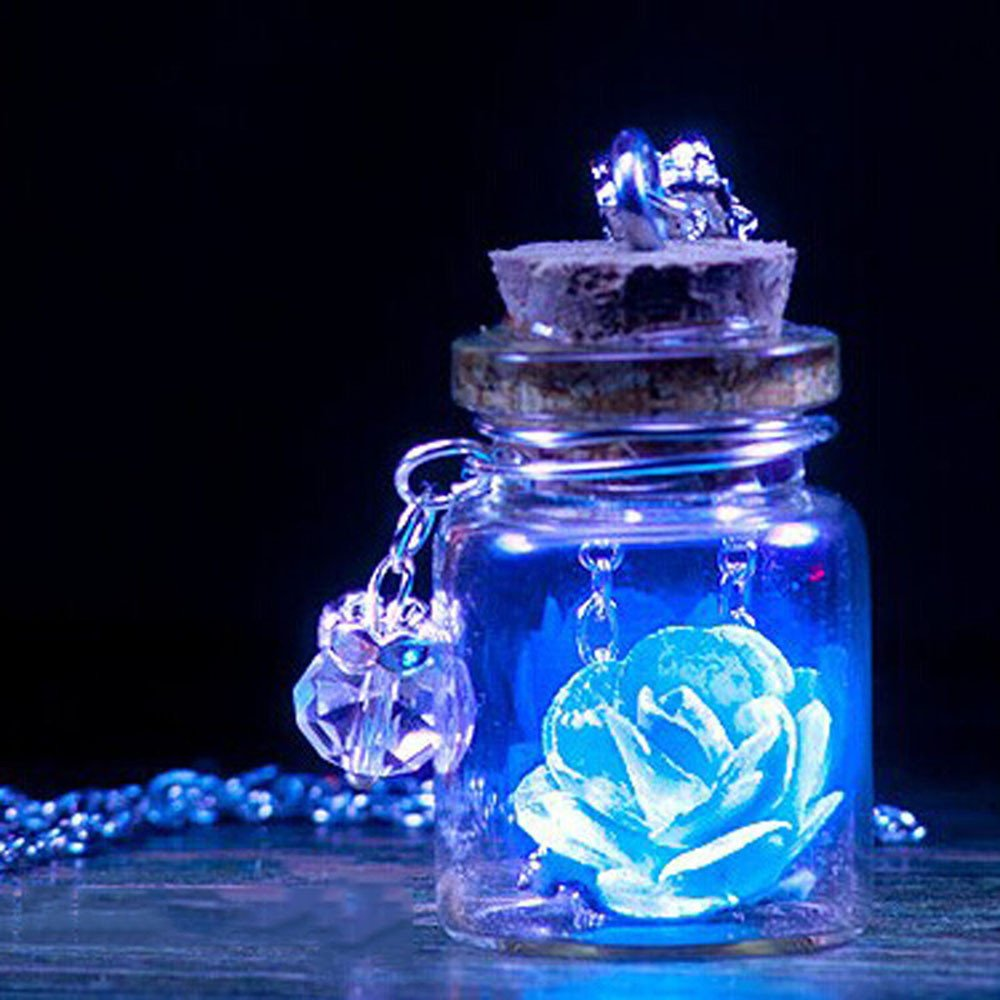 Glow in The Dark Flower Glass Tiny Wishing Bottle Vial Necklace Pendant Mitiy Chain Necklaces Romantic Gift
