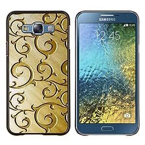 YiPhone /// Prima de resorte delgada de la cubierta del caso de Shell Armor - Oro Modelo de madera floral de Brown - Samsung Galaxy E7 E700