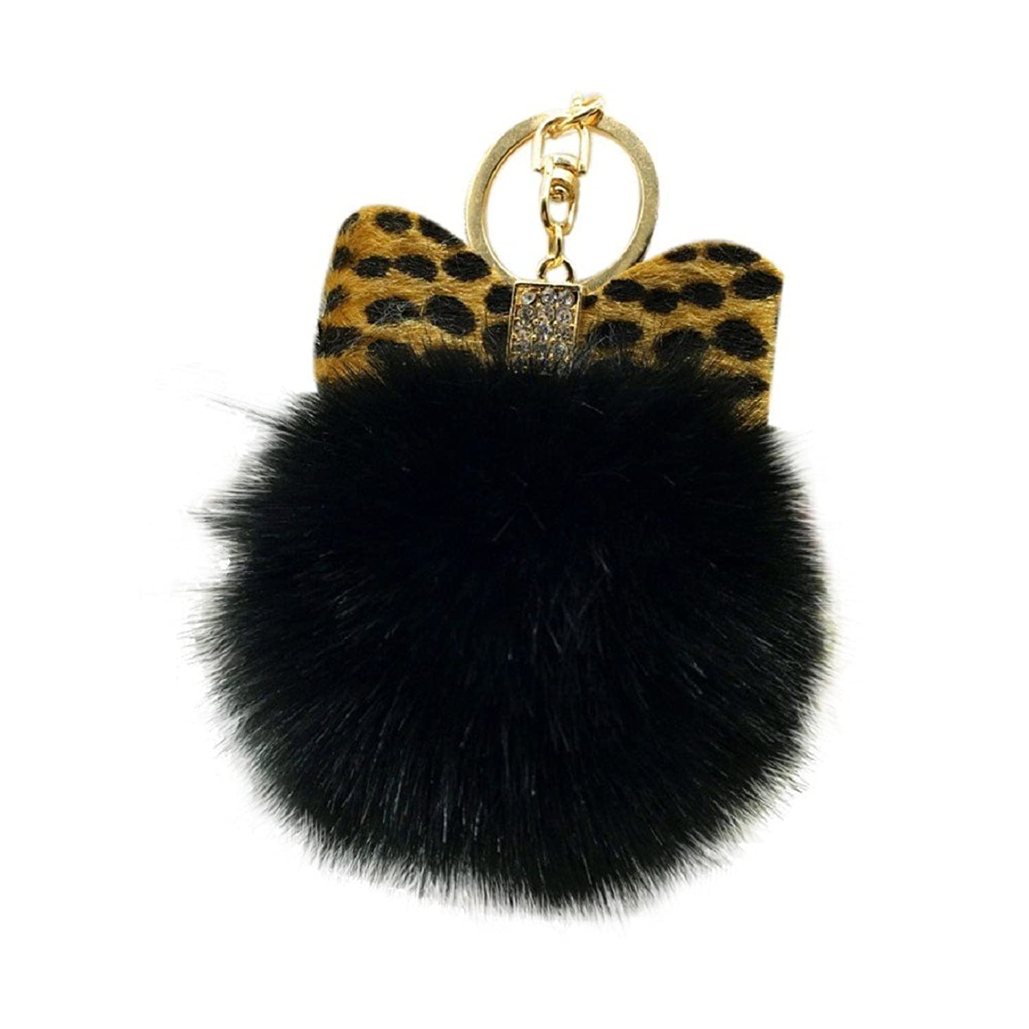 Egmy Leopard Bow Fluffy Faux Rabbit Fur Ball Bowknot Charm Car Keychain Handbag Key Ring (Black)