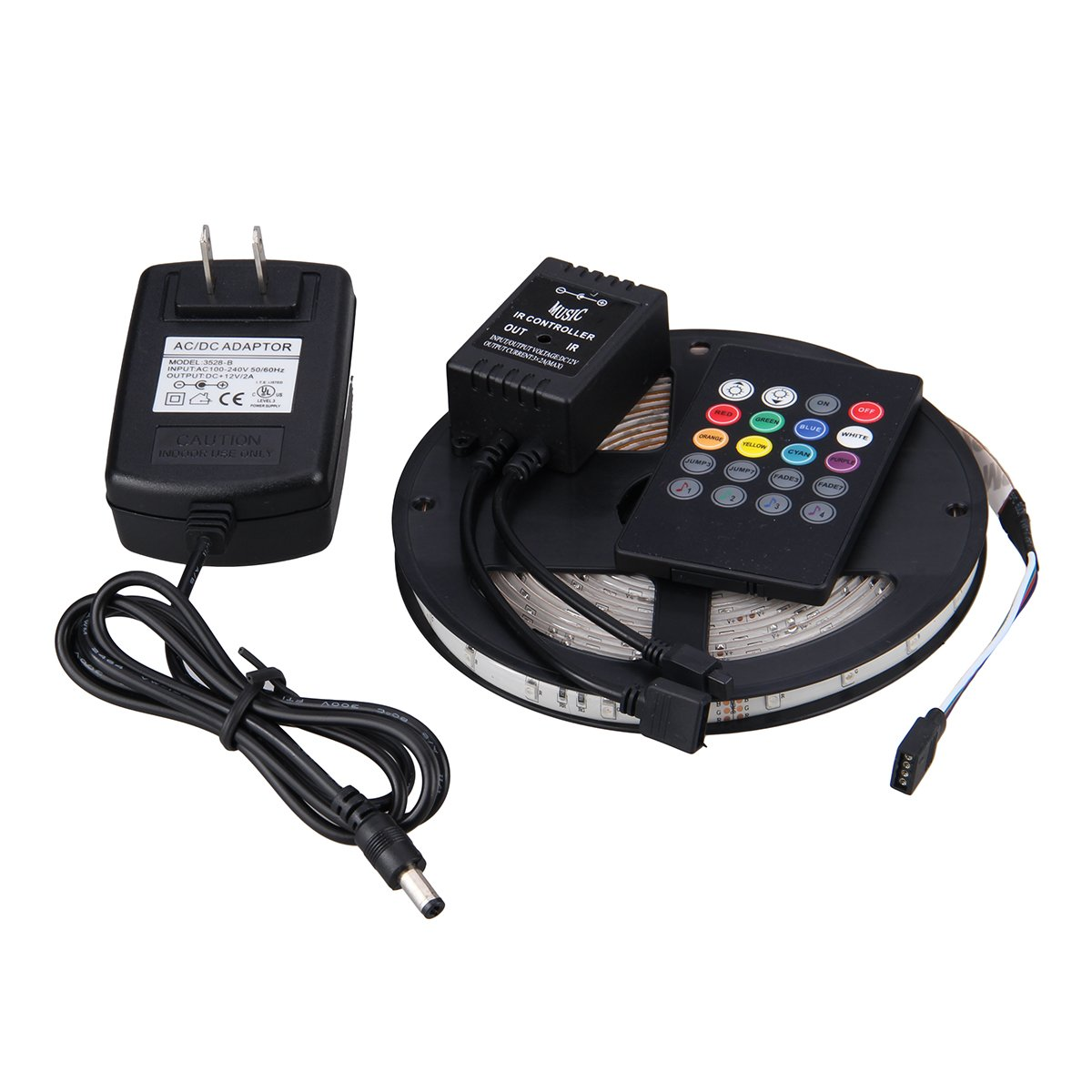 NEWSTYLE Waterproof 300LEDs SMD 3528 RGB LED Strip Light Kit with 20-key Music Sound Sense IR Controller and 12V Power Supply