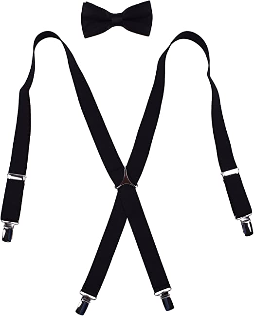 Agentle Mens Elastic Adjustable Trouser Braces Suspender Bow Tie Set Y Shape wit