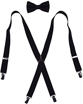 03f251855443 WDSKY Boys' Men's Bow Tie and Suspenders Set Adjustable X Back at ...