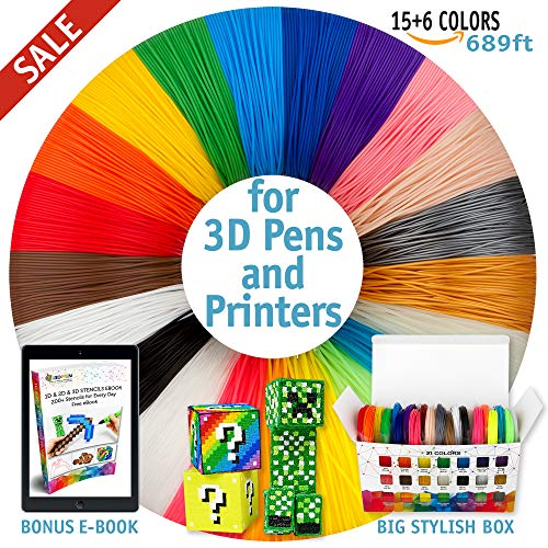 3D Pen Filament Refills - Premium Set of 21 Colors 689 feet Bonus 200 Stencils e-Book Including 6 Glow in The Dark Best 1.75mm PLA Filament Pack for 3D Pen for Kids and Adults