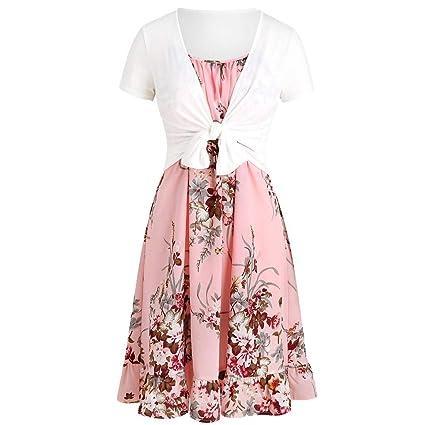 7236517433a Amazon.com: Womens Floral Print Midi Dresses Short Sleeve Bow Knot ...