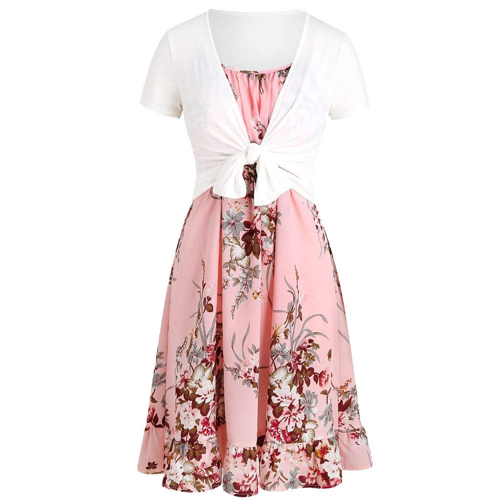 Kleider Damen Sommer Elegant Festlich Abendmode Lang R/öcke Beil/äufiges Cami Blumen Freizeit Strampler Mit Ernte T Shirt