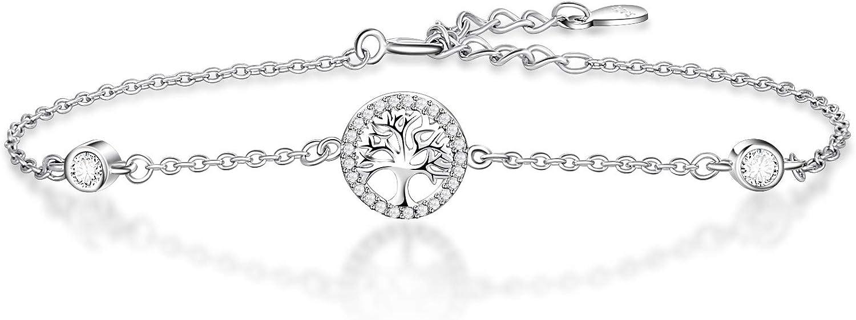 KnSam Bracelet Femme Arbre de Vie Zirconium en Argent Brillant Fantaisie Cha/îne 18+3.5cm