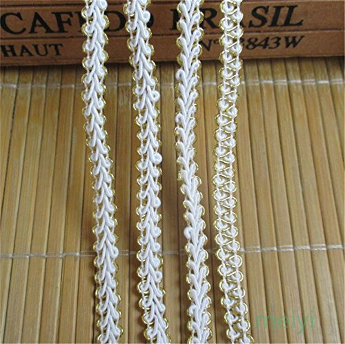 10 Meters White Gold Nylon Lace Edge Trim Ribbon 0.7 cm Width Vintage Style Edging Trimmings Fabric Embroidered Applique Sewing Craft Wedding Bridal Dress Embellishment DIY Clothes Embroidery ()