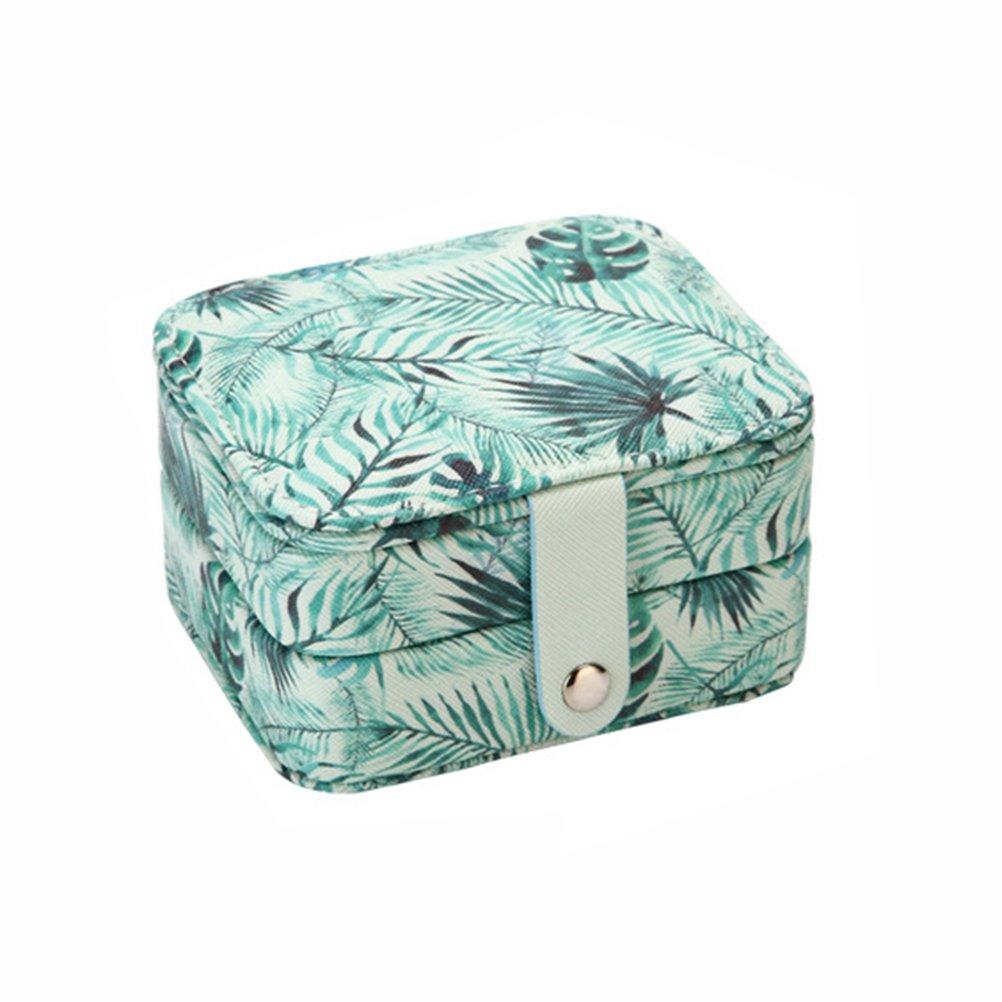 OUNONA Joyero caja de almacenamiento con bloqueo reflejado para viajes collar de la boda anillos pendientes organizador de regalo para las mujeres (verde)