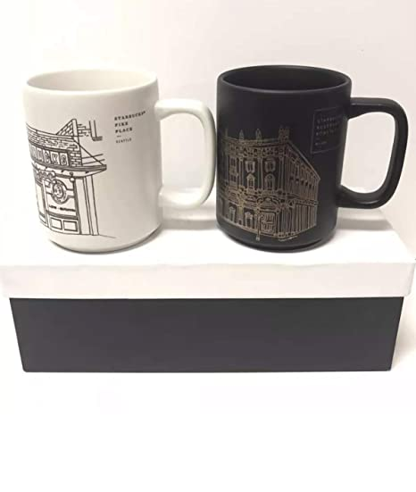 Starbucks Reserve Roastery Milano Pike Place Seattle 2018 Mug Set Limited Edition In Gift Box 12oz