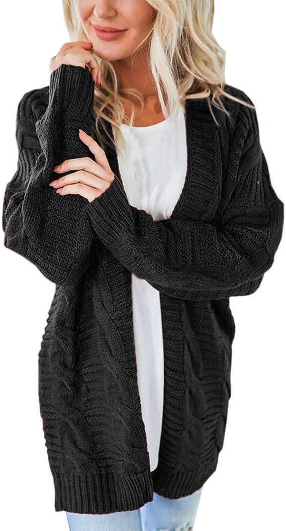 Snaked cat Maglione Cardigan Lavorato a Maglia a Maniche Lunghe Aperto Davanti da Donna Cappotto Casual Tinta Unita con Tasca