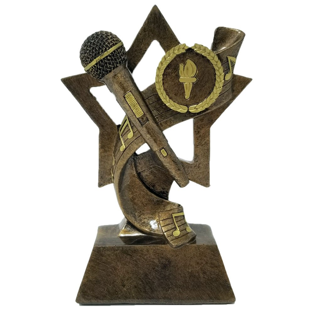 Decade Awards Gold Microphone Trophy | Karaoke/DJ Award - 6 Inch Tall Announcer Mic - Engraved Plate on Request