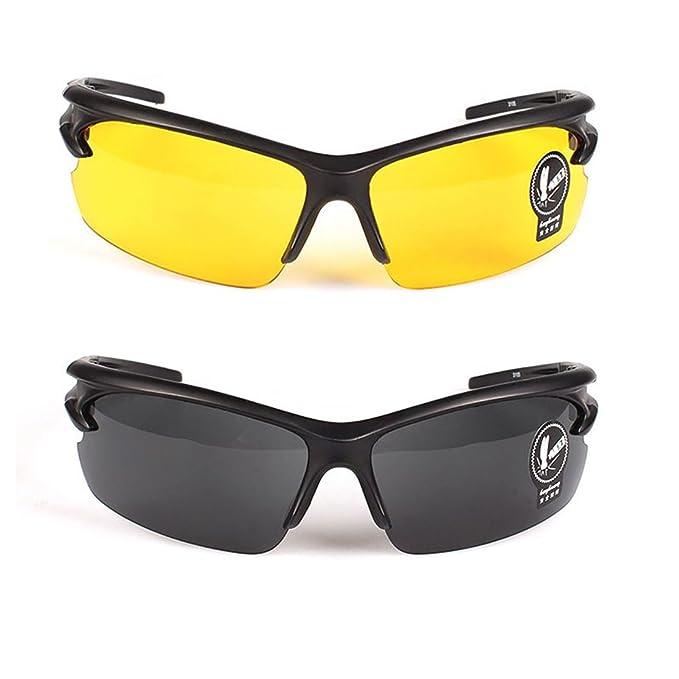 2 Pares Gafas de Sol Unisex Visión Nocturna Lentes Amarillas Sin Polarizar Antideslumbrante Protección UV400 Conducción