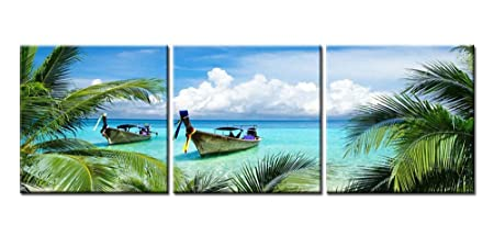 Canvas Print Wall Art Painting For Home Decor Tropical Seascape Blue Sandy Beach Palm Trees Long Tail Boats Maya Bay Thailand 3 Pieces Panel Picture Modern Giclee Stretched Framed Artwork Photo Prints