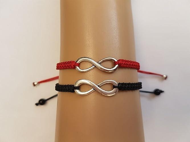 3f1d20d5f1e2 Pulseras infinito para parejas  rojo y negro.  Amazon.es  Handmade
