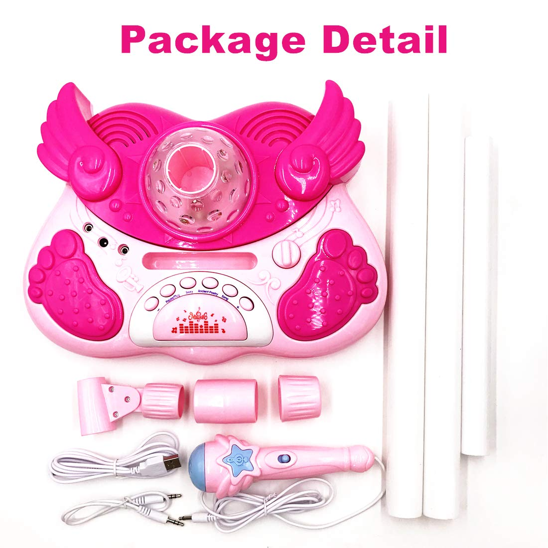 Kidsonor Kids Karaoke Machine with Microphones and Adjustable Stand, AUX Cable Connect to Electronic Devices for Music (Single Mic Pink) by Kidsonor (Image #7)