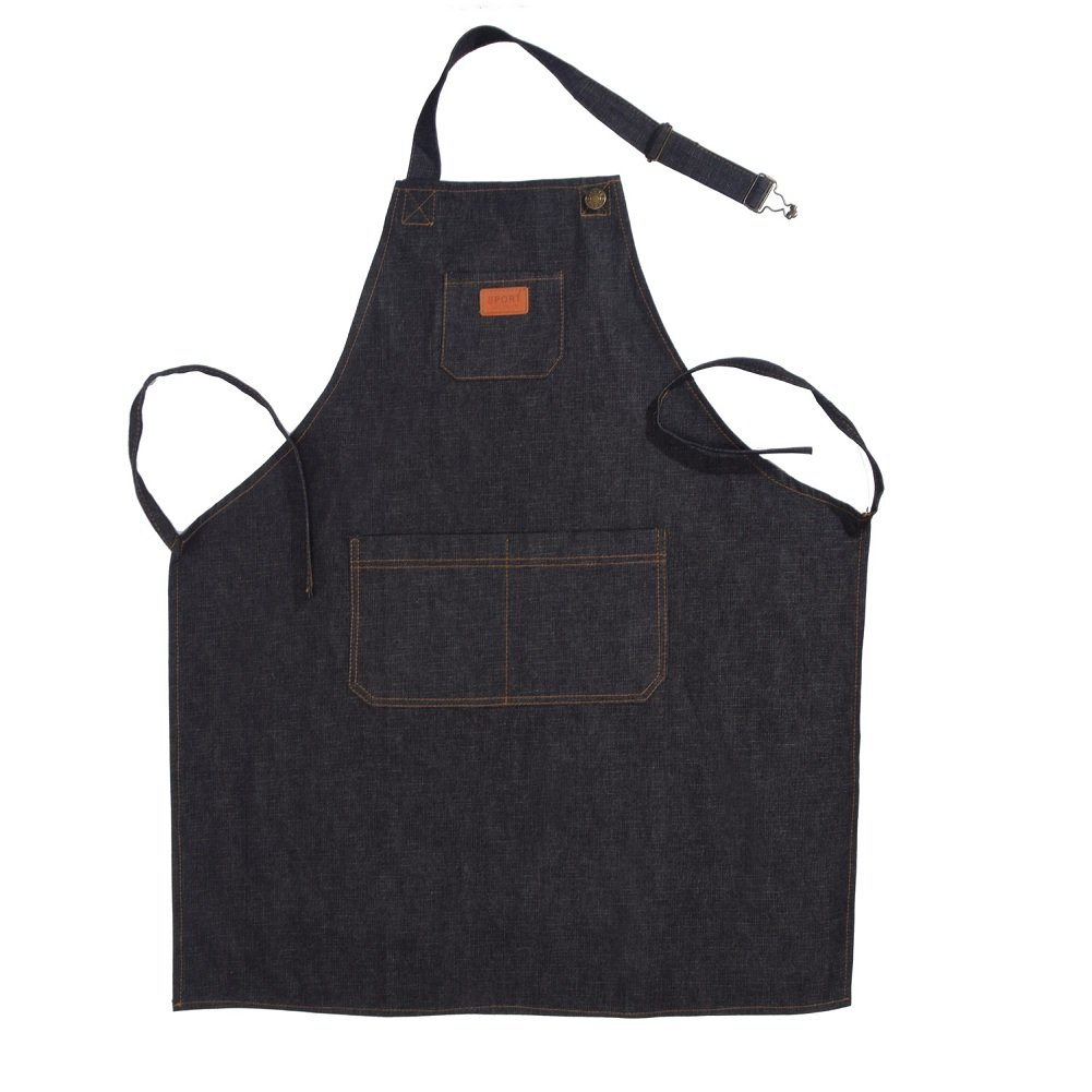 Denim Chef Apron with Pockets Durable Apron for Women Men, Modern Design Suitable for Kitchen Apron,Cooking Apron,Grilling Apron,BBQ Apron,Black Grey