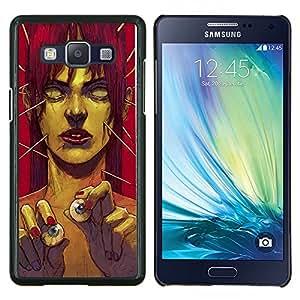 EJOOY---Cubierta de la caja de protección para la piel dura ** Samsung Galaxy A5 A5000 ** --Zombie Arte Ojo Bolas monstruo verde Redhead