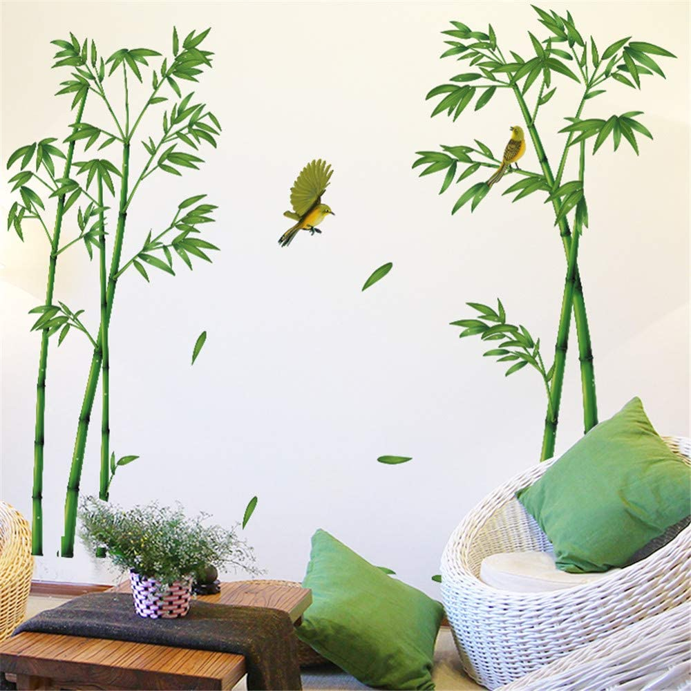 AAPBB Bamboo Wall Stickers Vinyl Wall Stickers Green Plant Sticker TV Background Wall Bedroom Room Decoration Wallpaper Self-Adhesive Wall Sticker Stickers Bamboo Landscape