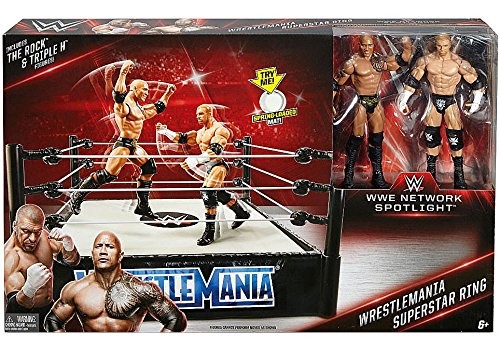 WWE Wrestling WWE Network Spotlight WrestleMania Exclusive Superstar Ring [Includes The Rock & Triple H] (Wrestling Superstars Wwe)