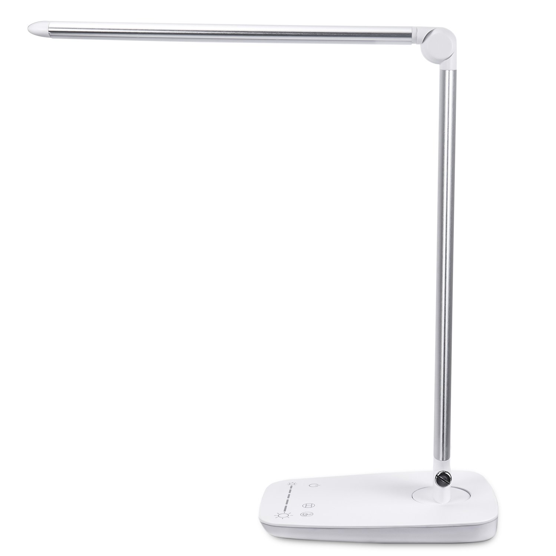 Desk Lamp, PEMOTech 10W Adjustable LED Desk Lamp with USB Charging Port, 10 Color Temperatures(2700-6500K), 7 Brightness Levels, Touch-Sensitive Control, Eye-care 108 Pieces LED Table Light