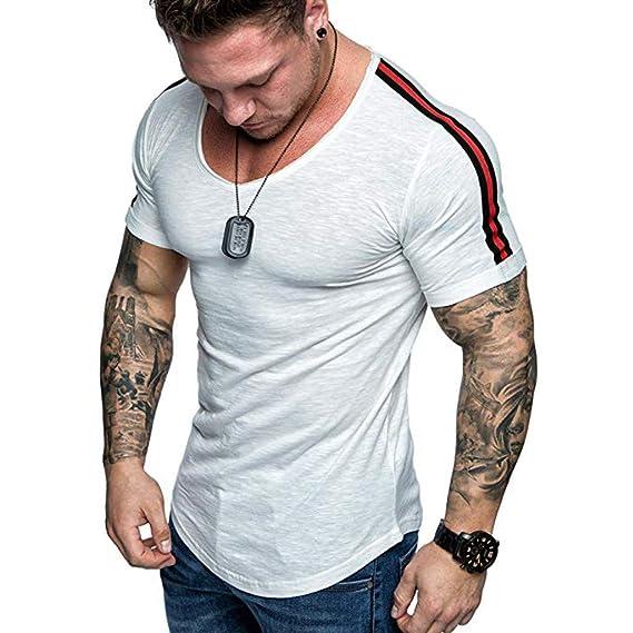 Camisetas de Manga Cortas para Hombre con Cuello Redondo ...