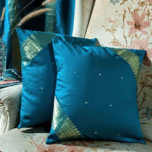 (Turquoise - Set of 2 Decorative handcrafted Sari Cushion Cover, Throw Pillow Case 16