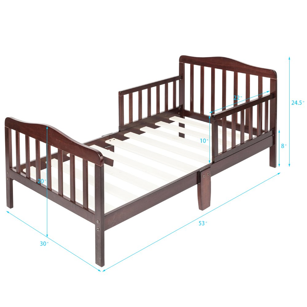 Bonnlo Contemporary Wooden Toddler Bed Sturdy Bedframe with Guard Rail Bedroom Furniture for Kids Children – Cherry by Bonnlo (Image #6)