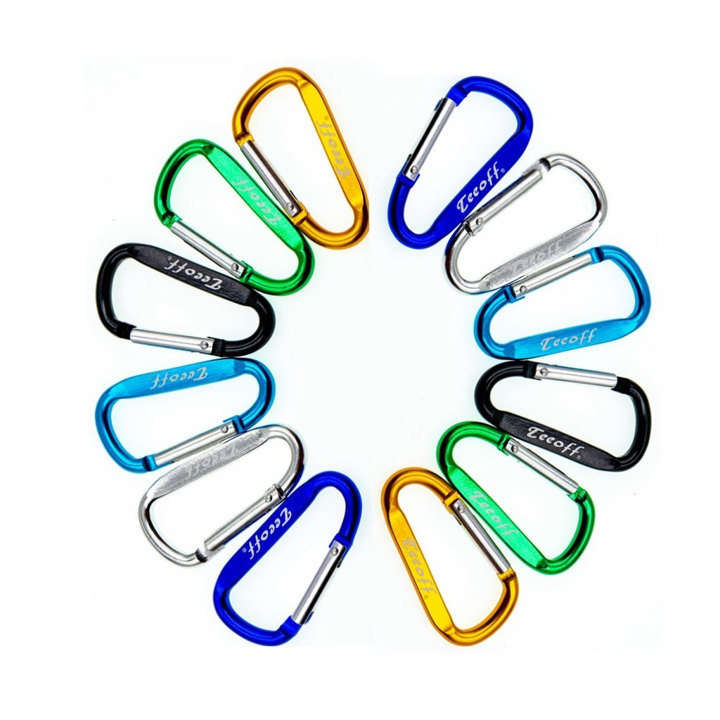 Teeoff Assorted Colors D Shape Aluminum Alloy Key Chain Carabiner for Camping Hiking Traveling