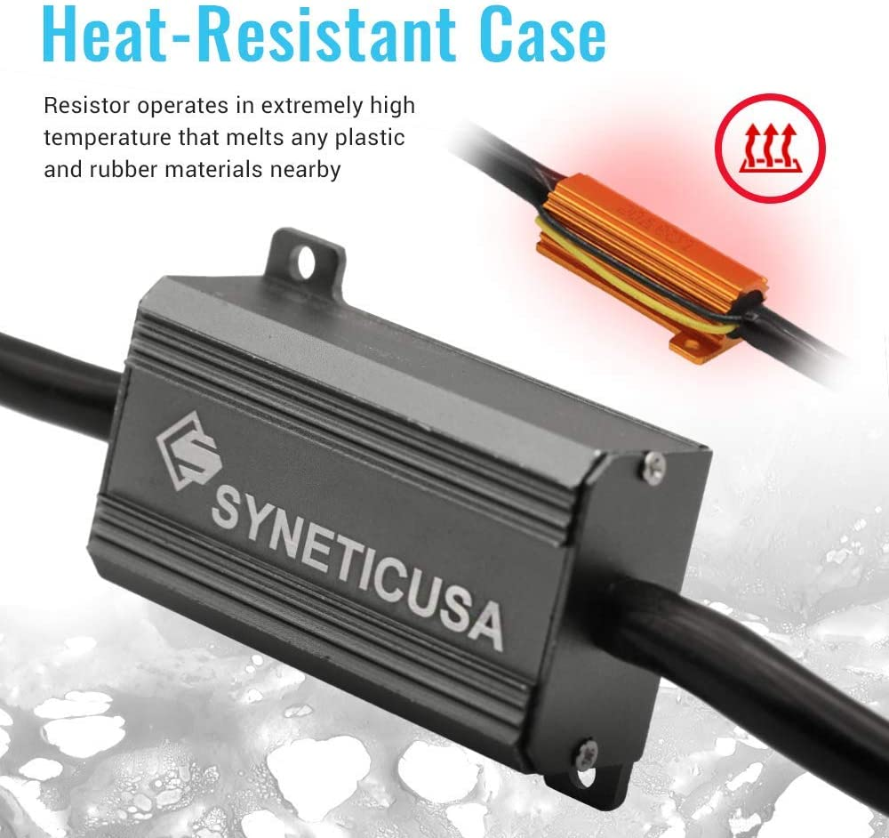 Syneticusa 7443 Error Free Canbus Ready Yellow//Amber LED Front//Rear Turn Signal Light Bulbs DRL Parking Lamp No Hyper Flash All in One With Built-In Resistors
