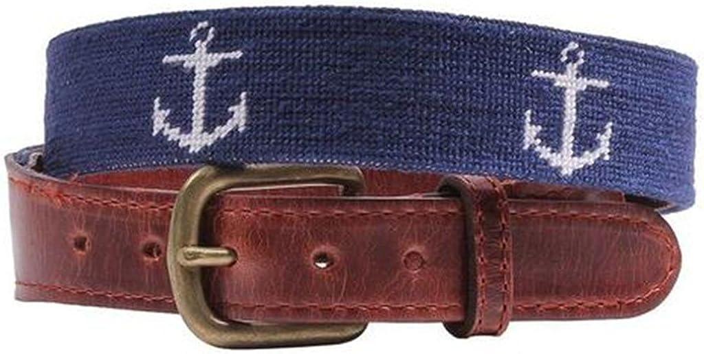Anchor Needlepoint Belt in Dark Navy by Smathers /& Branson
