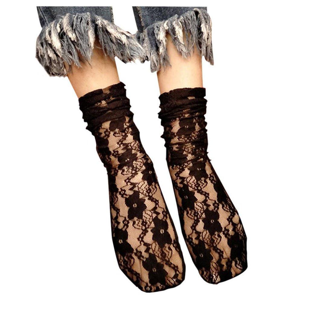 Inkach Women Fishnet Socks, Women Ruffle Fishnet Ankle High Socks Mesh Lace Print Short Fish NetSocks (A)