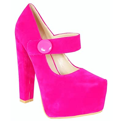 c9e29137911 Ladies Womens Bright Fuchsia Pink Button Ankle Strap Mary Janes Faux Suede  Court Block Heel Platforms High Heels Shoes 3-8 (UK5/EURO38)