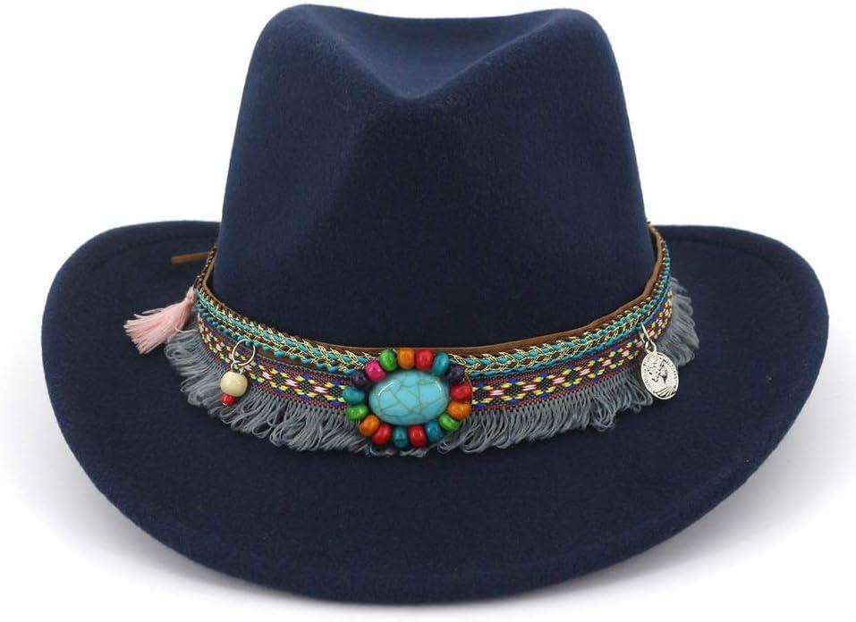 Duyani Western Cowboy Fedora Sombreros for Hombres, Mujeres, Elegante, Sombrero de Copa, Borde Ancho, con Borla, Estilo Nacional, caída de Cinta (Color : Blue, Size : 56-58)
