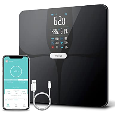 Weighing Scales Body Weight,Wellue Body Fat Scale,Bathroom Scales body fat,Weight Scales with APP for Using on the Carpet,Digital Scales with 16 Body Fitness Data,Heart Rate,Large Display,ITO,lb/kg/st