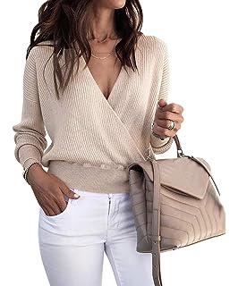 50d085f36035 Yieune Pullover Damen Sweatshirt Casual Langarmshirt V-Ausschnitt Tunika  Party Pullis Bluse
