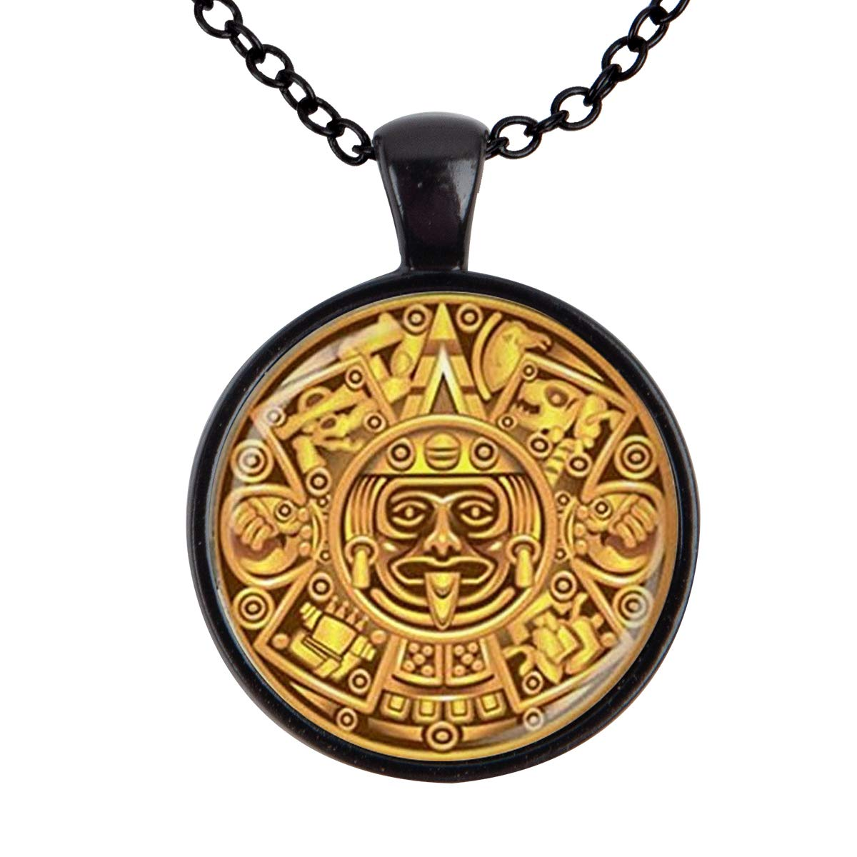 Family Decor Our Motif The Egyptian Pharaoh Pendant Necklace Cabochon Glass Vintage Bronze Chain Necklace Jewelry Handmade